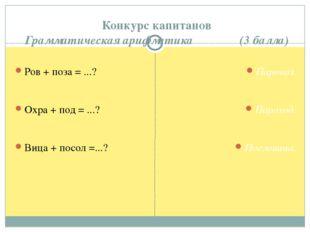 Конкурс капитанов Грамматическая арифметика (3 балла) Ров + поза = ...? Охра