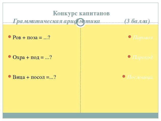 Конкурс капитанов Грамматическая арифметика (3 балла) Ров + поза = ...? Охра...