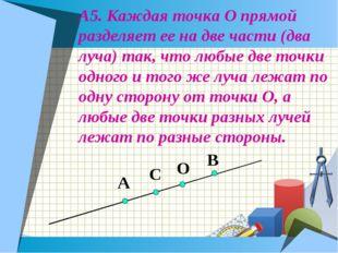А5. Каждая точка О прямой разделяет ее на две части (два луча) так, что любые