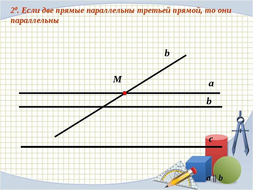 20. Если две прямые параллельны третьей прямой, то они параллельны с b а М b...