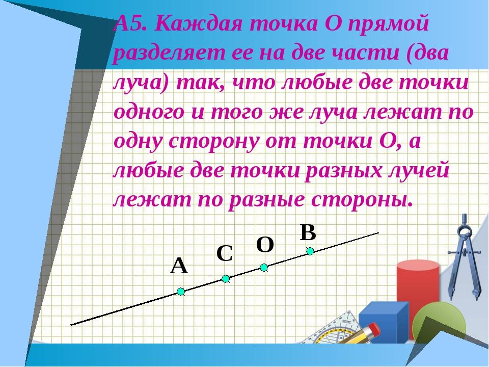 А5. Каждая точка О прямой разделяет ее на две части (два луча) так, что любые...