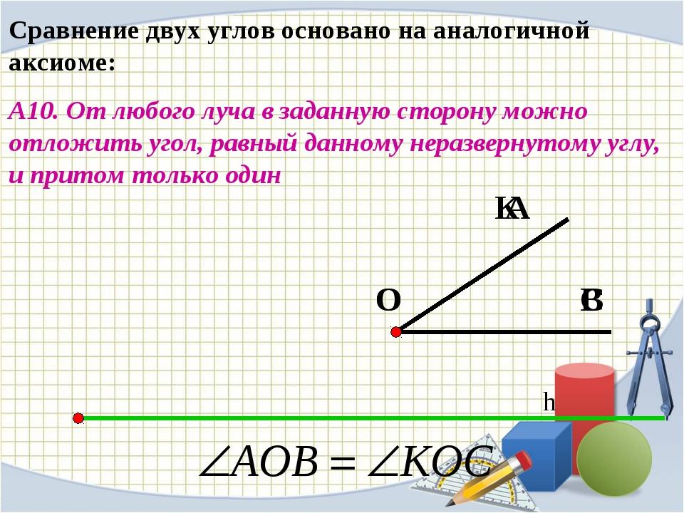 Сравнение двух углов основано на аналогичной аксиоме: А10. От любого луча в з...