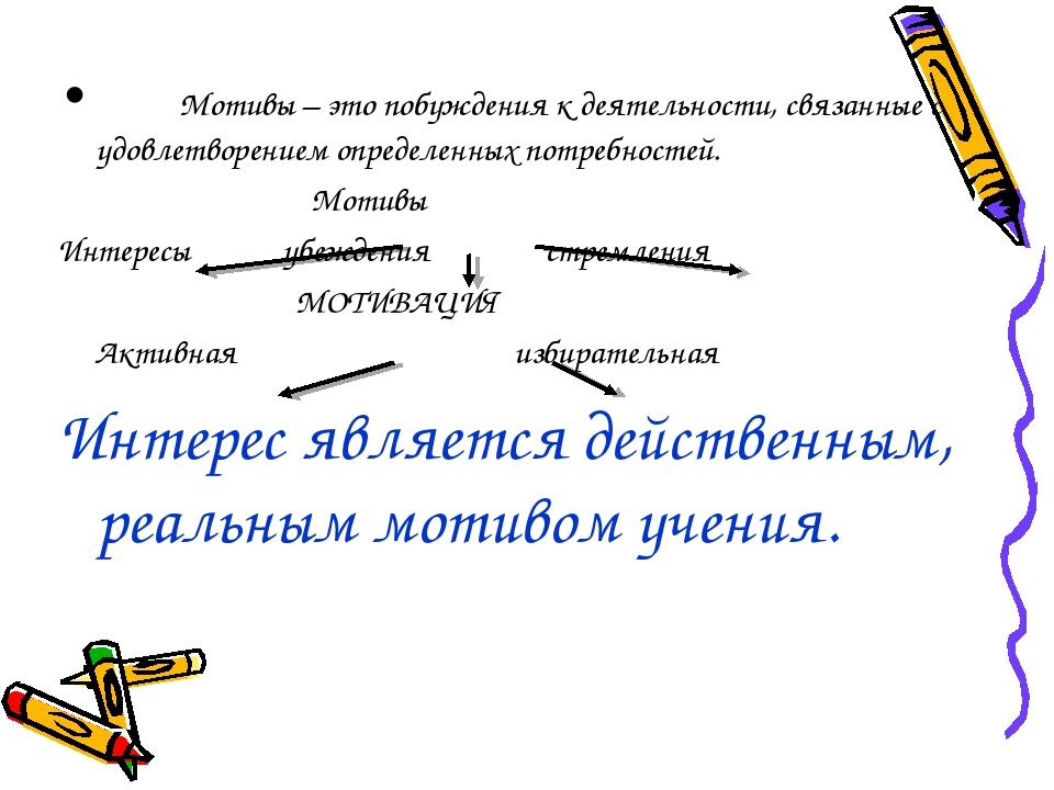 Мотивы – это побуждения к деятельности, связанные с удовлетворением определе...