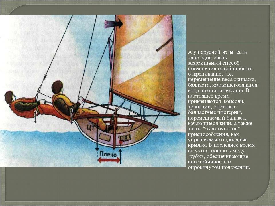 А у парусной яхты есть еще один очень эффективный способ повышения остойч...