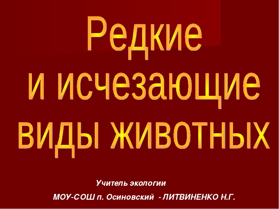 Учитель экологии МОУ-СОШ п. Осиновский - ЛИТВИНЕНКО Н.Г.