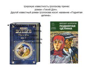 Широкую известность Шолохову принес роман «Тихий Дон». Другой известный ром