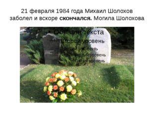21 февраля 1984 года Михаил Шолохов заболел и вскоре скончался. Могила Шолохова