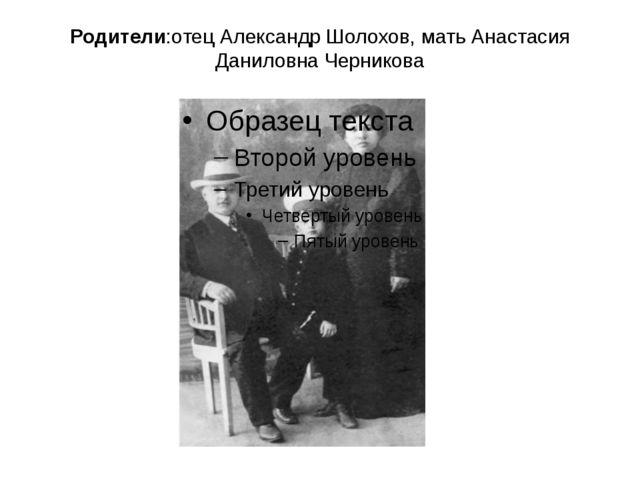 Родители:отец Александр Шолохов, мать Анастасия Даниловна Черникова