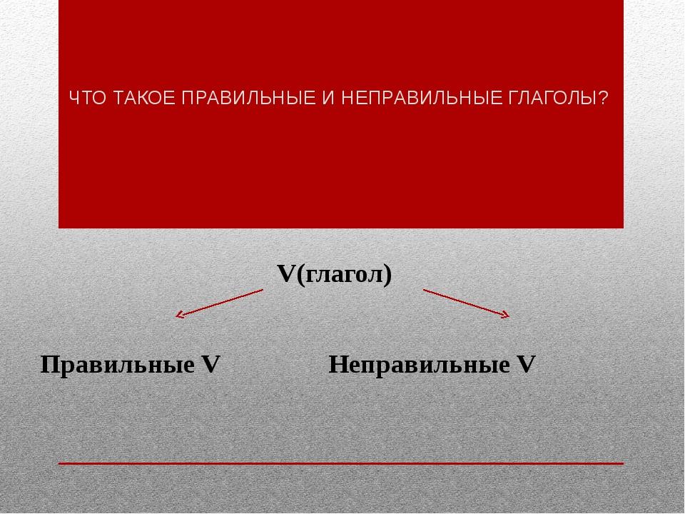 ЧТО ТАКОЕ ПРАВИЛЬНЫЕ И НЕПРАВИЛЬНЫЕ ГЛАГОЛЫ? V(глагол) Правильные VНеправ...