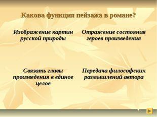 Какова функция пейзажа в романе? Изображение картин русской природыОтражение