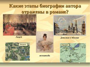 Какие этапы биографии автора отражены в романе? Лицей Детство в Москве женитьба