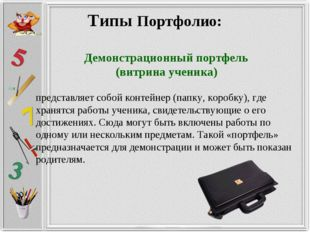 Типы Портфолио: Демонстрационный портфель (витрина ученика) представляет собо