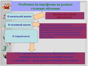 Особенности портфолио на разных ступенях обучения В начальной школе В основно