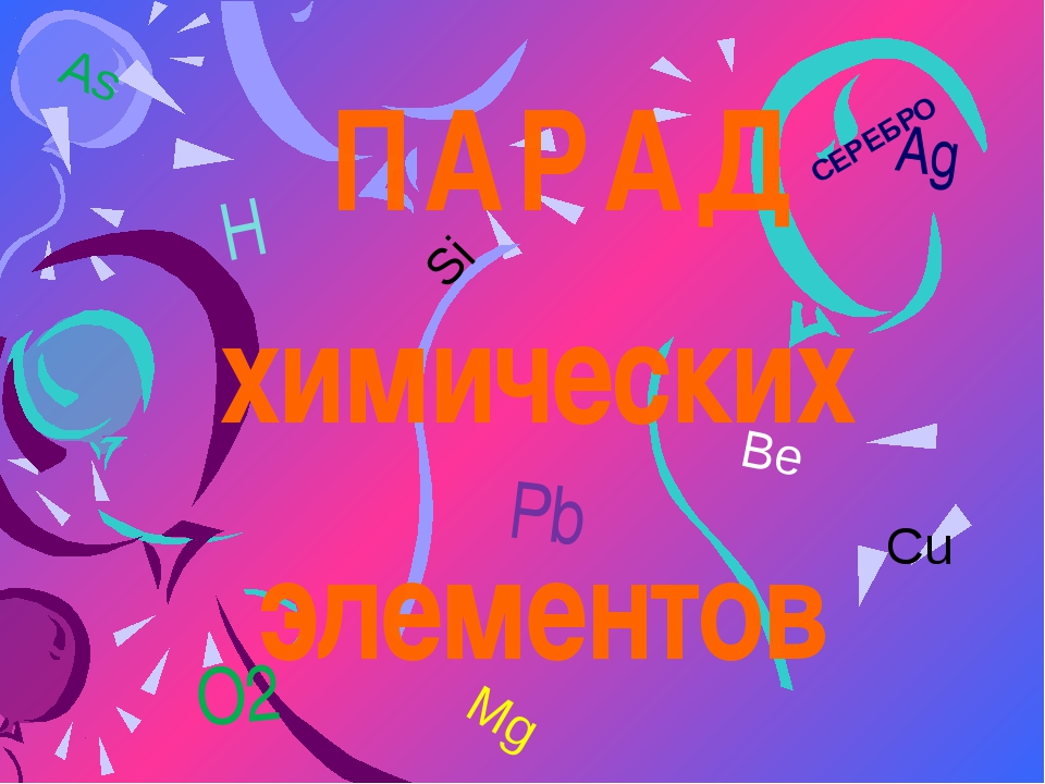 Cu СЕРЕБРО ПАРАД химических элементов Ag H Pb O2 Si As Mg Be