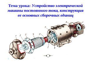 Тема урока: Устройство электрической машины постоянного тока, конструкция ее