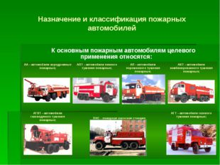 Назначение и классификация пожарных автомобилей К основным пожарным автомобил
