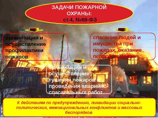 ЗАДАЧИ ПОЖАРНОЙ ОХРАНЫ: ст.4, №69-ФЗ К действиям по предупреждению, ликвидац...
