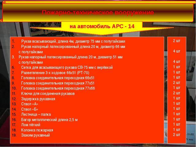 Пожарно-техническое вооружение на автомобиль АРС - 14 Рукав всасывающий, дли...