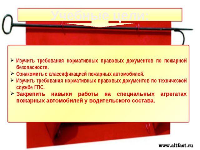 Учебные цели: Изучить требования нормативных правовых документов по пожарной...