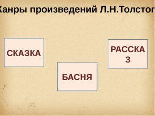 Жанры произведений Л.Н.Толстого СКАЗКА БАСНЯ РАССКАЗ