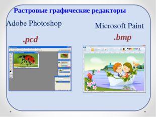 Adobe Photoshop .pcd .bmp Microsoft Paint Растровые графические редакторы