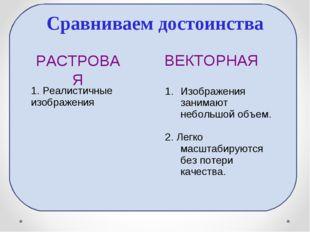 Сравниваем достоинства РАСТРОВАЯ ВЕКТОРНАЯ 1. Реалистичные изображения Изобра