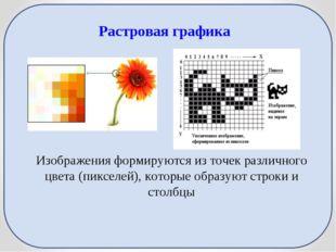 Растровая графика Изображения формируются из точек различного цвета (пикселей