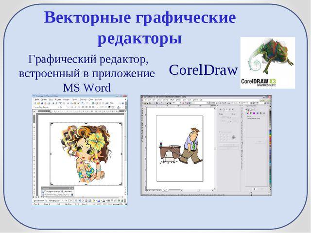 Векторные графические редакторы Графический редактор, встроенный в приложение...