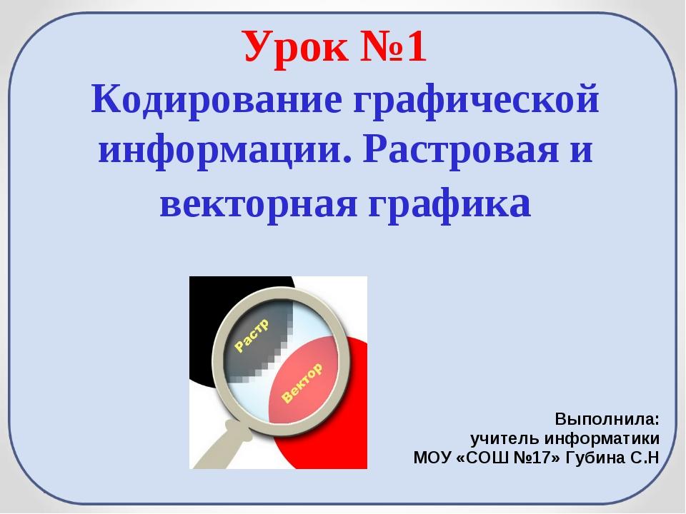 Урок №1 Кодирование графической информации. Растровая и векторная графика Вып...