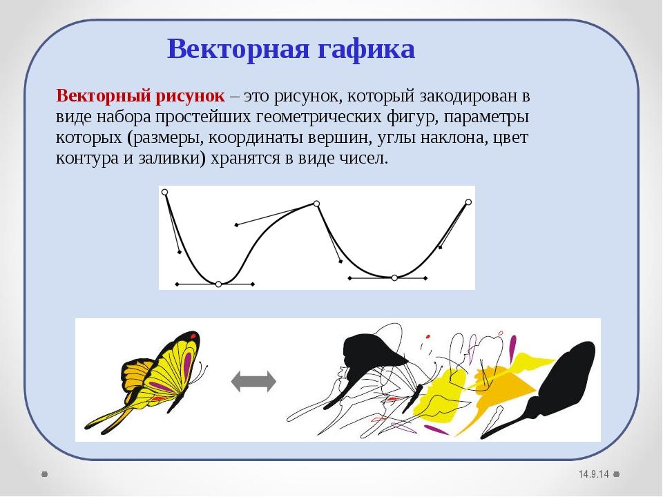 14.9.14 Векторный рисунок– это рисунок, который закодирован в виде набора пр...