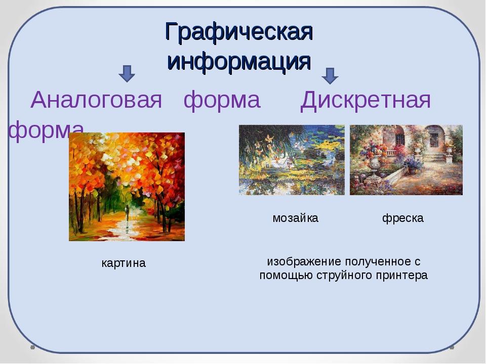 Аналоговая форма Дискретная форма Графическая информация картина мозайка фре...