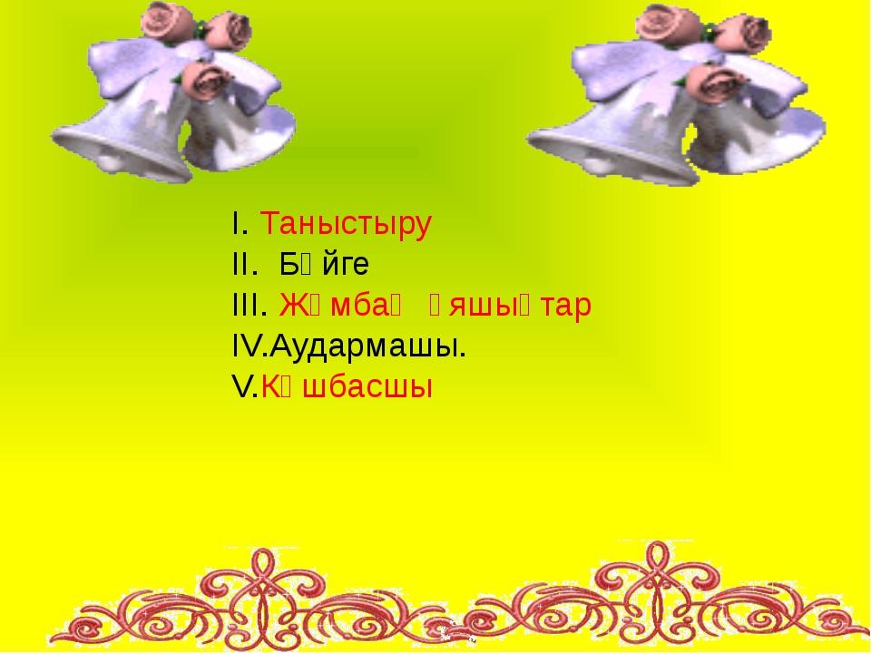 I. Таныстыру II. Бәйге III. Жұмбақ ұяшықтар IV.Аудармашы. V.Көшбасшы