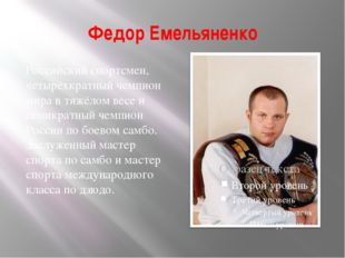 Федор Емельяненко Российский спортсмен, четырёхкратный чемпион мира в тяжёлом