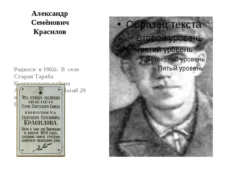 Александр Семёнович Красилов Родился в 1902г. В селе Старая Тараба Кытманског...