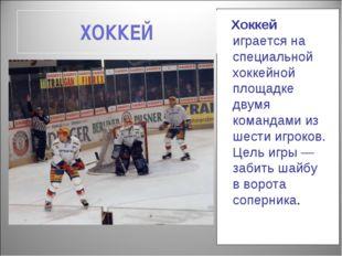 ХОККЕЙ Хоккей играется на специальной хоккейной площадке двумя командами из ш