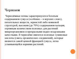 Чернозем Чернозёмные почвы характеризуются богатым содержанием гумуса (особен