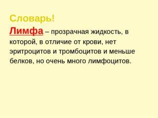 Словарь! Лимфа – прозрачная жидкость, в которой, в отличие от крови, нет эрит