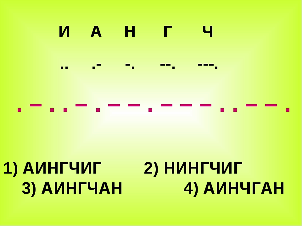 . – . . – . – – . – – – . . – – . 1) АИНГЧИГ 2) НИНГЧИГ 3) АИНГЧАН 4) АИНЧГА...