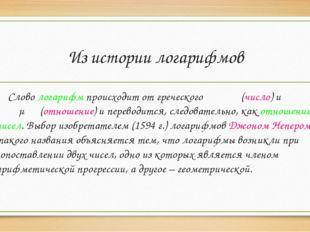 Из истории логарифмов Слово логарифм происходит от греческого λογοφ (число) и