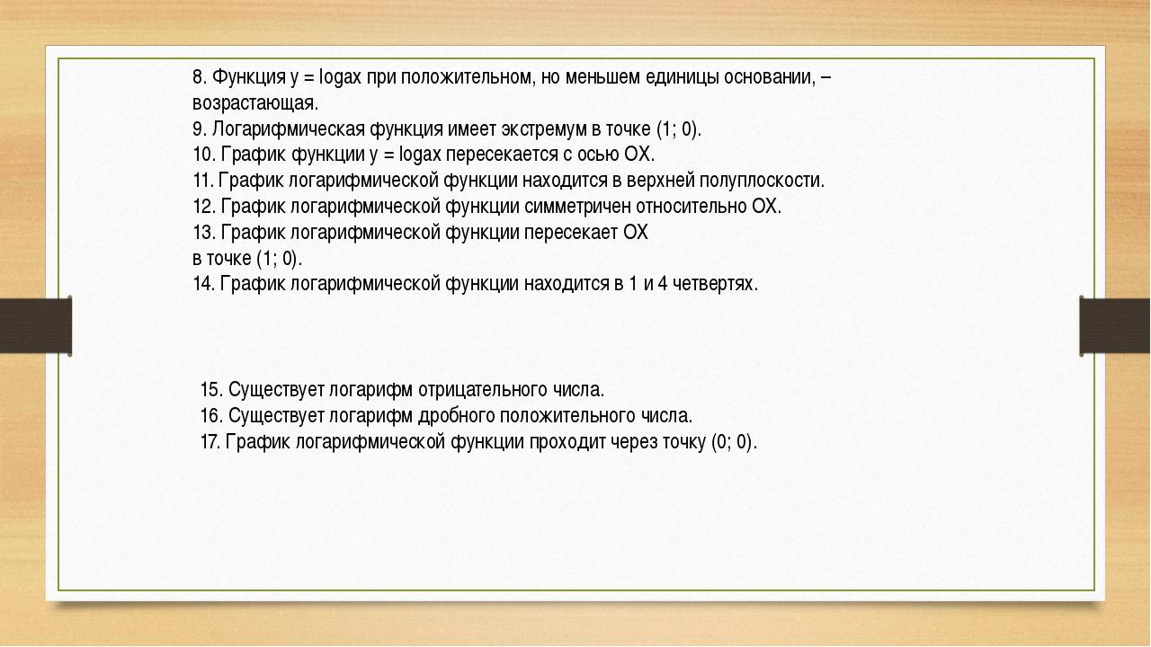 8. Функция у = logax при положительном, но меньшем единицы основании, – возра...