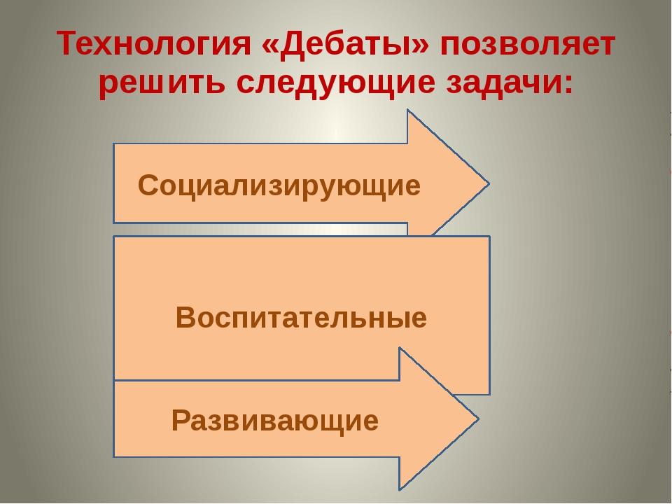 Технология «Дебаты» позволяет решить следующие задачи: Социализирующие Воспит...