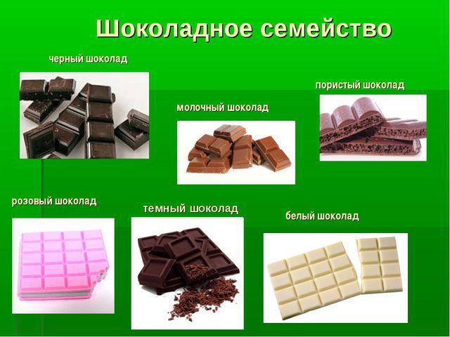 Шоколадное семейство пористый шоколад молочный шоколад черный шоколад розовый...