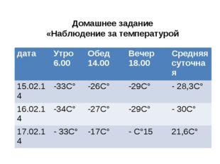 Домашнее задание «Наблюдение за температурой датаУтро 6.00Обед 14.00Вечер