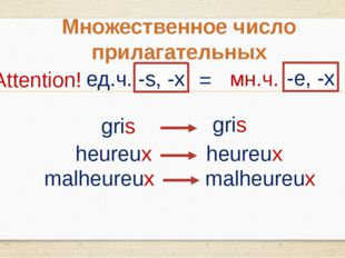 Множественное число прилагательных ед.ч. -s, -x = мн.ч. Attention! -e, -x gri