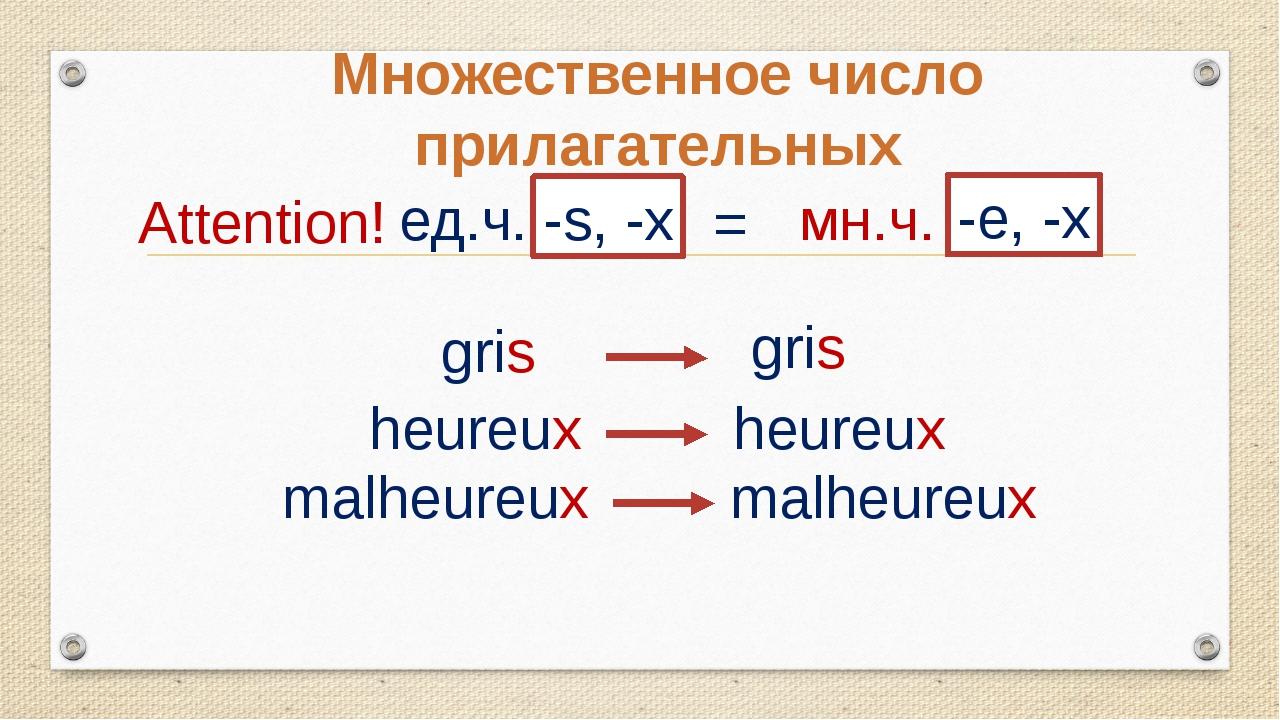 Множественное число прилагательных ед.ч. -s, -x = мн.ч. Attention! -e, -x gri...