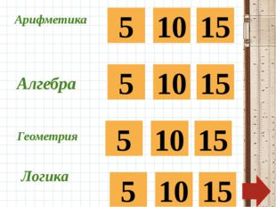 Арифметика 5 10 15 Алгебра 5 10 15 5 10 15 Геометрия Логика 5 10 15