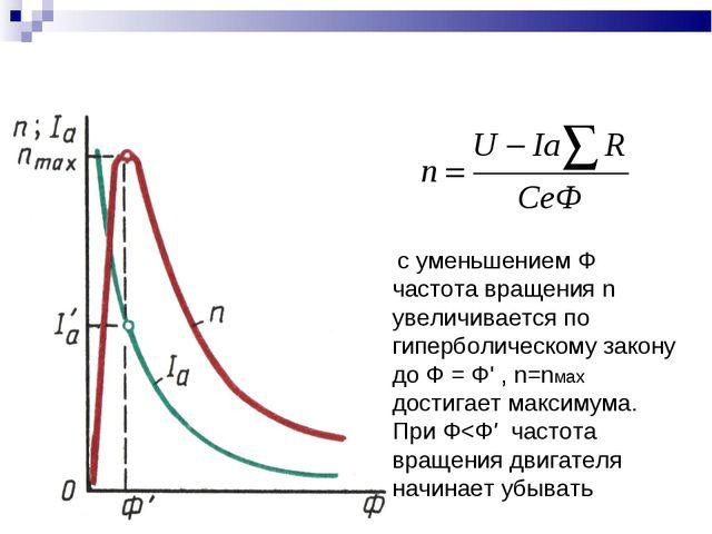 с уменьшением Ф частота вращения n увеличивается по гиперболическому закону...