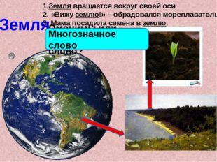 Земля 1.Земля вращается вокруг своей оси. 2. «Вижу землю!» – обрадовался море