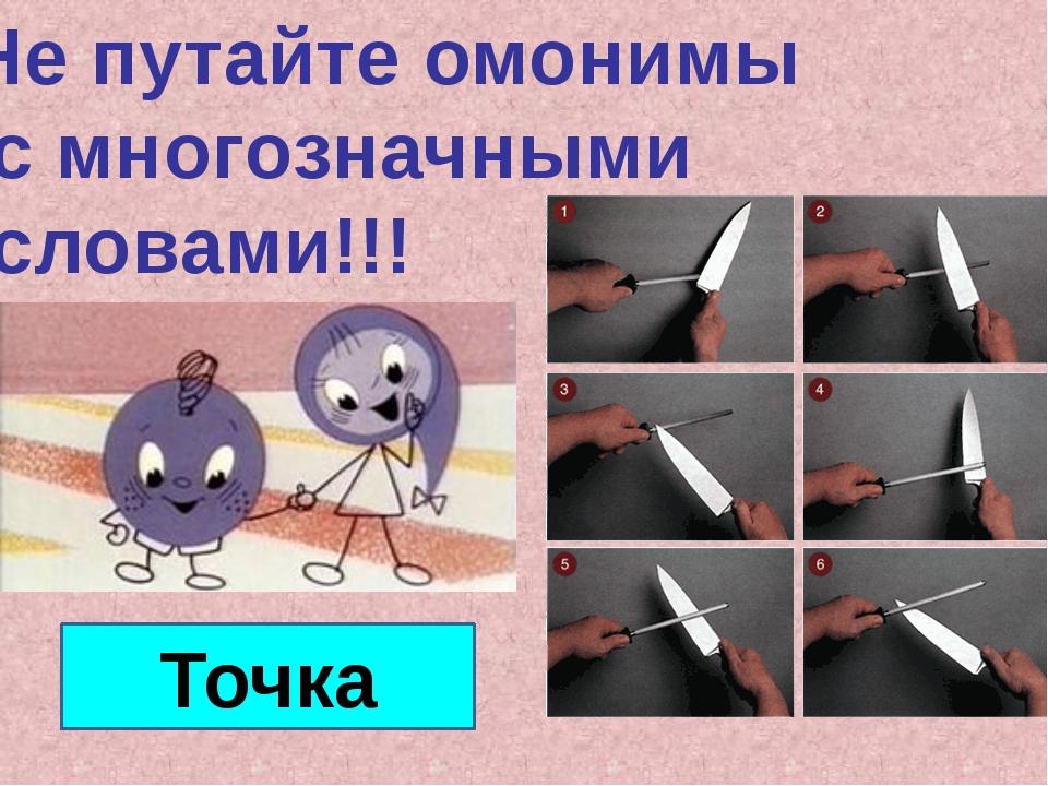 Не путайте омонимы с многозначными словами!!! Точка Слово «точка» на слайде с...