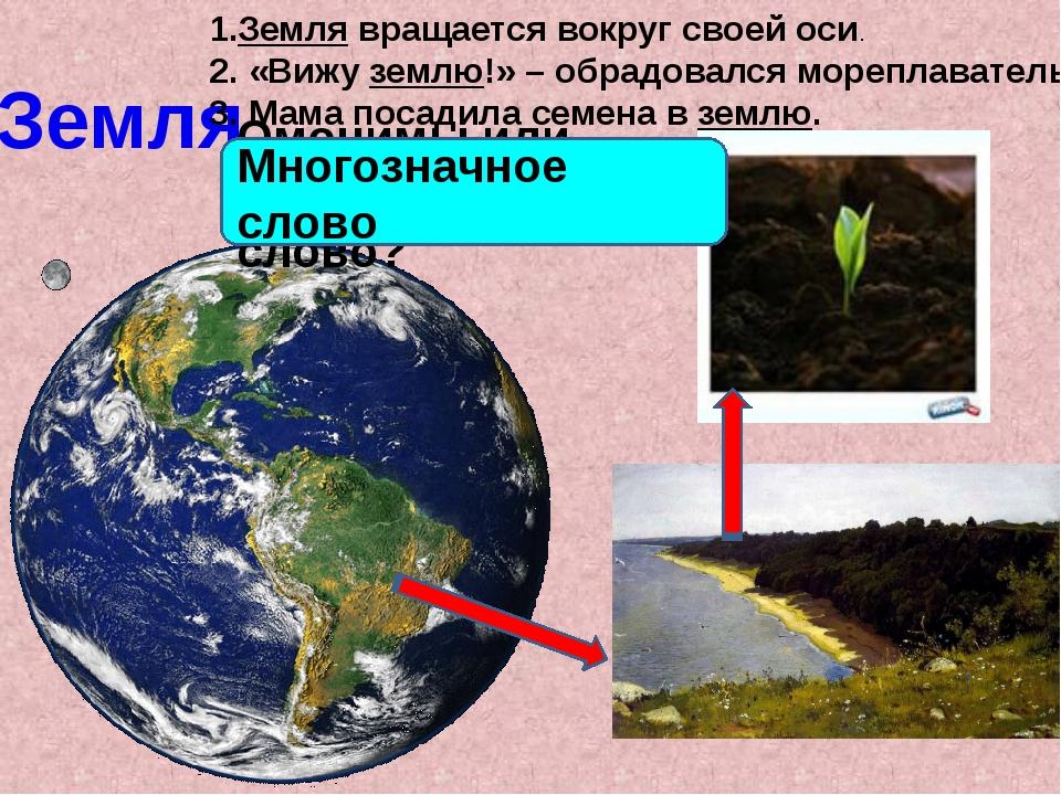 Земля 1.Земля вращается вокруг своей оси. 2. «Вижу землю!» – обрадовался море...